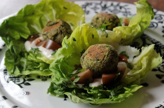 Baked Pistahcio Herb Falafel with Tahini Lemon Sauce https://bigsislittledish.wordpress.com/2014/04/26/baked-pistachio-herb-falafel-with-two-sauces/