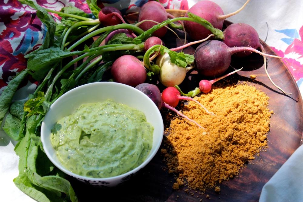 Radish Snack with Avocado Crema and Spicy Pepita Powder