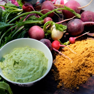 Radish Snack with Avocado Crema and Spicy Pepita Powder https://bigsislittledish.wordpress.com/2014/06/03/radish-snack-with-avocado-crema-and-spicy-pepita-powder/
