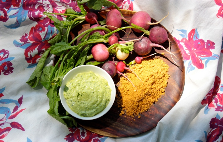 Radish Snack with Avocado Crema and Spicy Pepita Powder
