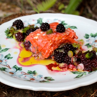 Sockeye Salmon with Blackberries and Leeks https://bigsislittledish.wordpress.com/2014/08/20/sockeye-salmon-with-blackberries-and-leeks/