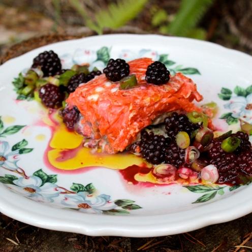 Sockeye Salmon with Blackberries and Leeks https://bigsislittledish.wordpress.com/2014/08/20/sockeye-salmon-with-blackberries-and-leeks/