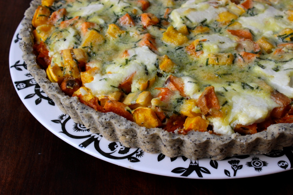 Goat Cheese and Autumn Vegetable Tart with a Gluten-Free Poppy Seed Crust https://bigsislittledish.wordpress.com/2014/11/09/goat-cheese-and-autumn-vegetable-tart-with-a-gluten-free-poppy-seed-crust/