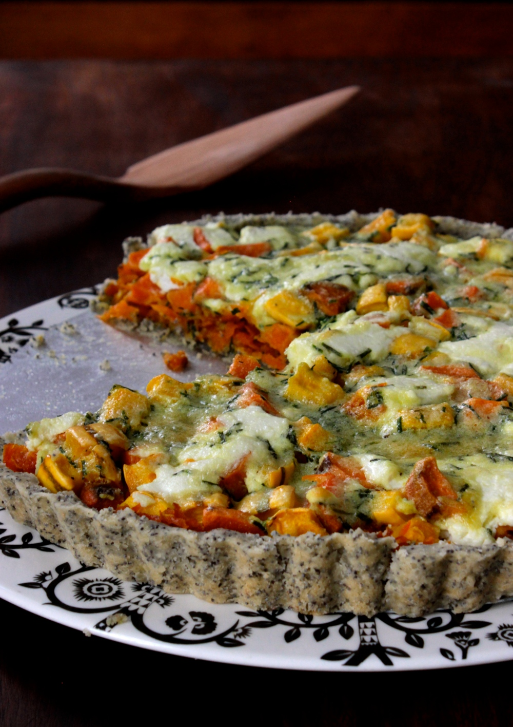 Goat Cheese and Autumn Vegetable Tart with a Gluten-Free Poppy Seed Crust
