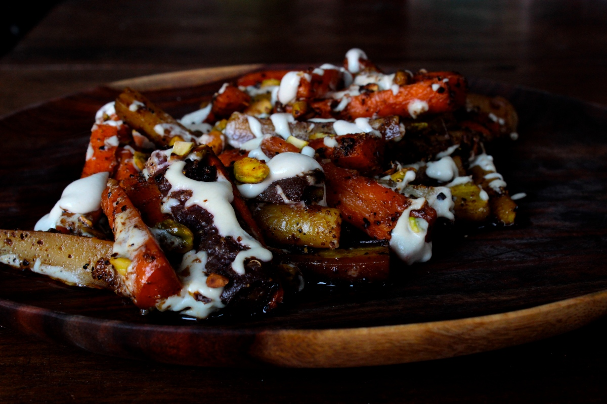 Roasted, Spiced Carrots with Tahini Lemon Sauce and Pistachios