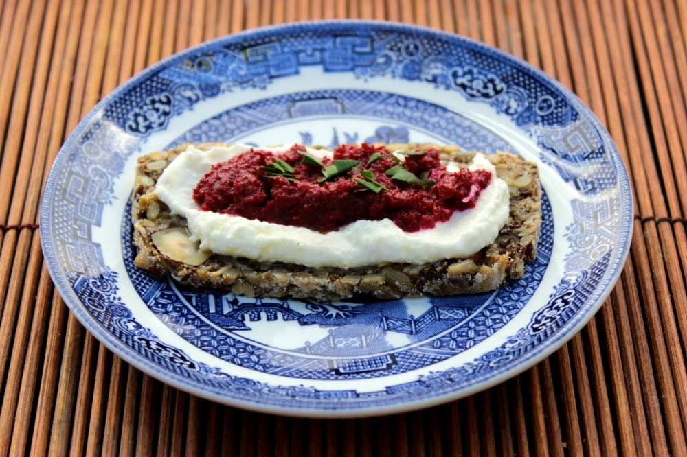 Beet Caviar and Whipped Ricotta on Seed and Nut Bread
