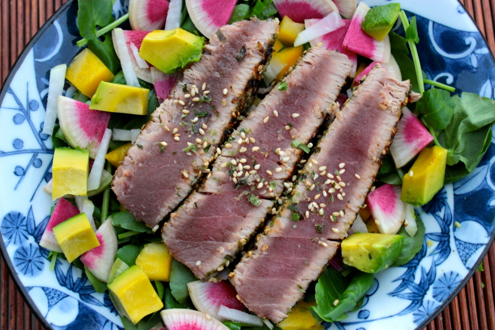 Furikaki Crusted Seared Ahi with a Spicy Salad https://bigsislittledish.wordpress.com/2015/01/04/furikaki-crusted-seared-ahi-with-a-salad-of-spicy-vegetables/