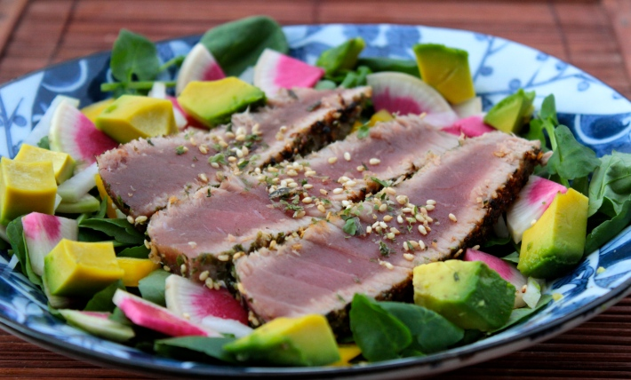 Furikaki Crusted Seared Ahi with a Spicy Salad