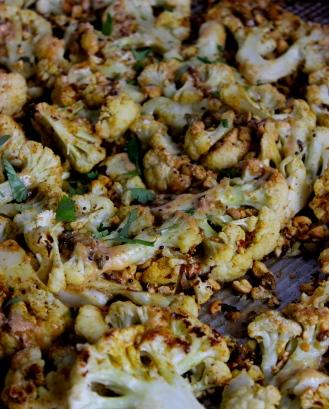 Cauliflower Roasted with Curry and Cashew Butter https://bigsislittledish.wordpress.com/2015/03/07/cauliflower-roasted-with-curry-and-cashew-butter/