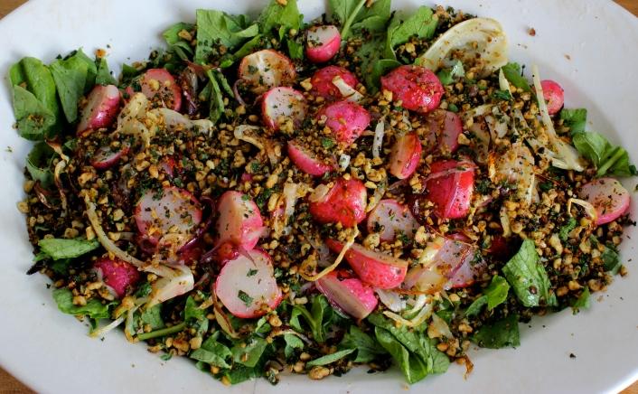 Roasted Radish and Fennel Salad with Walnut Gremolata (Cotton-Tail Salad) https://bigsislittledish.wordpress.com/2015/04/02/roasted-radish-and-fennel-salad-with-walnut-gremolata-cotton-tail-salad/