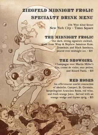 Speakeasy Dollhouse- Ziegfeld's Midnight Frolic- Cocktail Menu