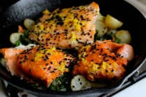 Slow Roasted Salmon with Lemon, Parsley and Baby Turnips and Their Greens https://bigsislittledish.wordpress.com/2015/07/11/adaptable-slow-roasted-salmon-with-citrus-herbs-and-root-vegetables-with-their-greens-beet-turnip-and-radish-variations-farmshare-cooking-weeks-3-and-4/