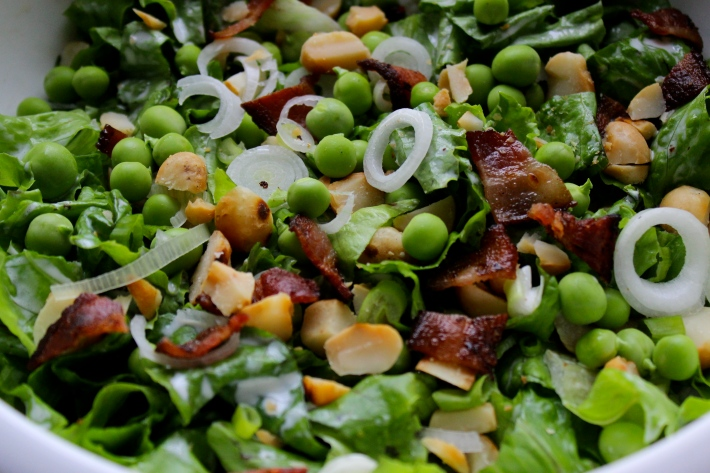 Green Salad with Peas, Macadamia Nuts and Mint