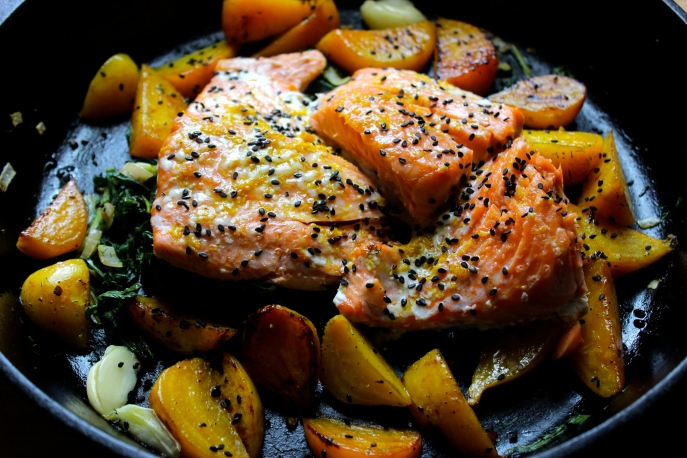 Slow Roasted Salmon with Orange, Dill and Beets and Their Greens