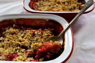 Sour Cherry and Rhubarb Crumble (gluten-free) https://bigsislittledish.wordpress.com/2015/07/11/sour-cherry-or-plum-and-rhubarb-crumble-gluten-free-or-not-farmshare-cooking-weeks-6-and-7/