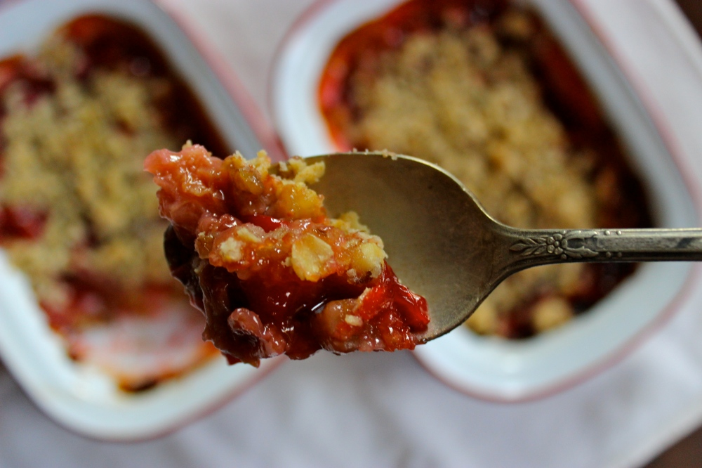 Sour Cherry and Rhubarb Crumble (gluten-free)