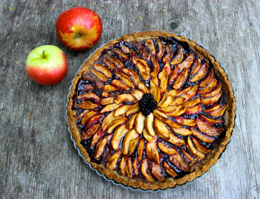 Blackberry Apple Tart with a Salted Almond Crust (gluten-free and vegan)