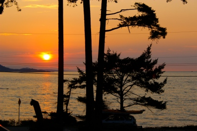 The view of sunset from the Surf Lodge. Gabriola Island, BC