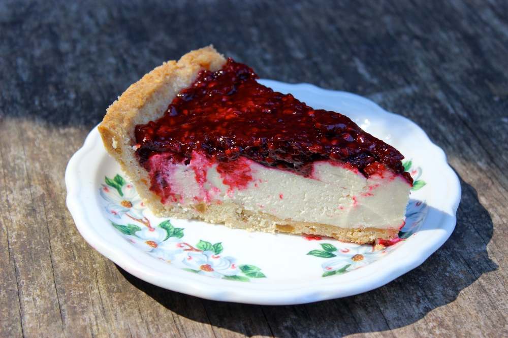 Blackberry Lime Cashew Cream Tart with a Ginger Crust (Gluten-free and vegan)