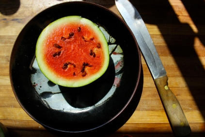 Watermelon on a pottery by Regina Whickham http://reginawickham.blogspot.com/!http://reginawickham.blogspot.com/