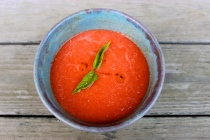 Watermelon Gazpacho in Pottery by Regina Wickham http://reginawickham.blogspot.com/