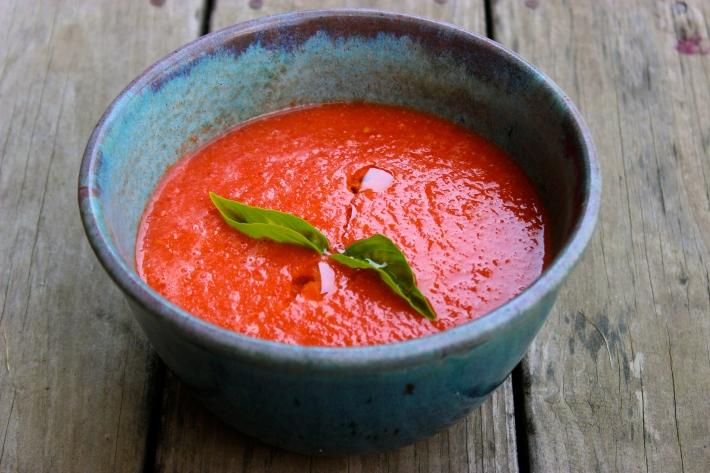Watermelon Gazpacho in Pottery by Regina Wickham