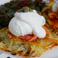 Snow Day Nordic Brunch- Potato Pancakes, Poached Eggs and Smoked Salmon