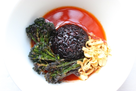Charred Broccolini with Black Forbidden Rice and Sweet, Spicy Lime Sauce https://bigsislittledish.com/2016/05/20/charred-broccolini-with-black-forbidden-rice-and-sweet-spicy-lime-sauce/