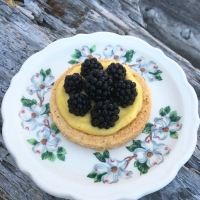 THEY CAME FROM THE BLACKBERRY BRAMBLE!/ Blackberry Tarts with Saffron Honey Almond Cream (Dairy and Gluten Free)