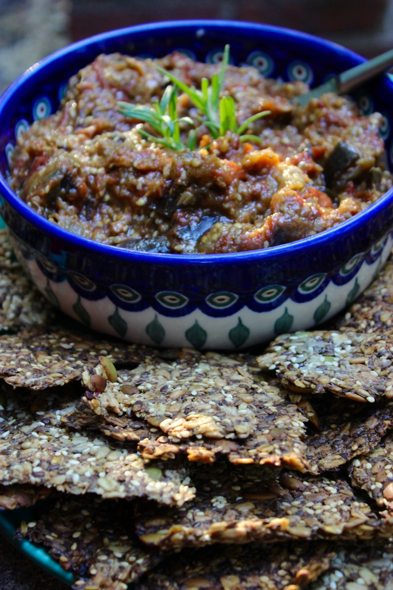 Tomato Eggplant Appetizer with Sweet Moroccan Spices/ Savory Seed Crackers (Vegan and Gluten-Free)