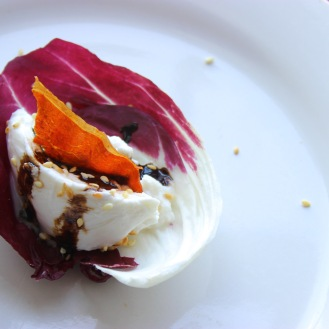 Raddichio and Burrata Appetizer https://bigsislittledish.com/2018/04/15/radicchio-and-burrata-arthur-avenue/