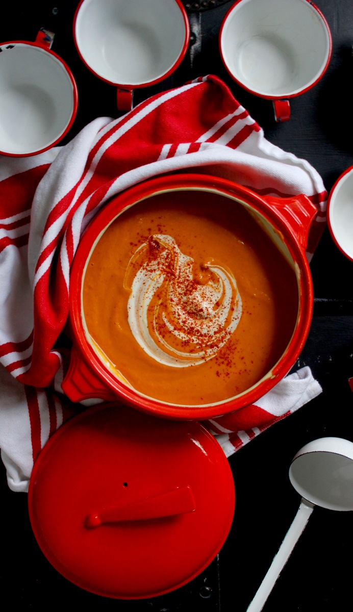 Creamy Butternut Soup with Miso and Smoked Paprika (Vegan)