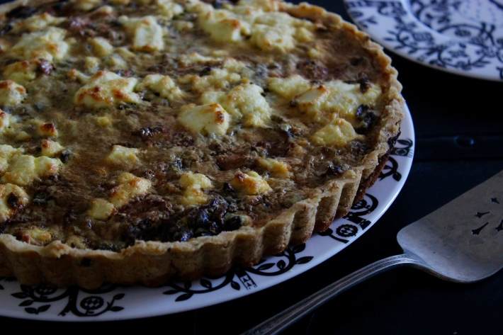 Caramelized Onion and Wild Mushroom Tart with a Hazelnut Crust
