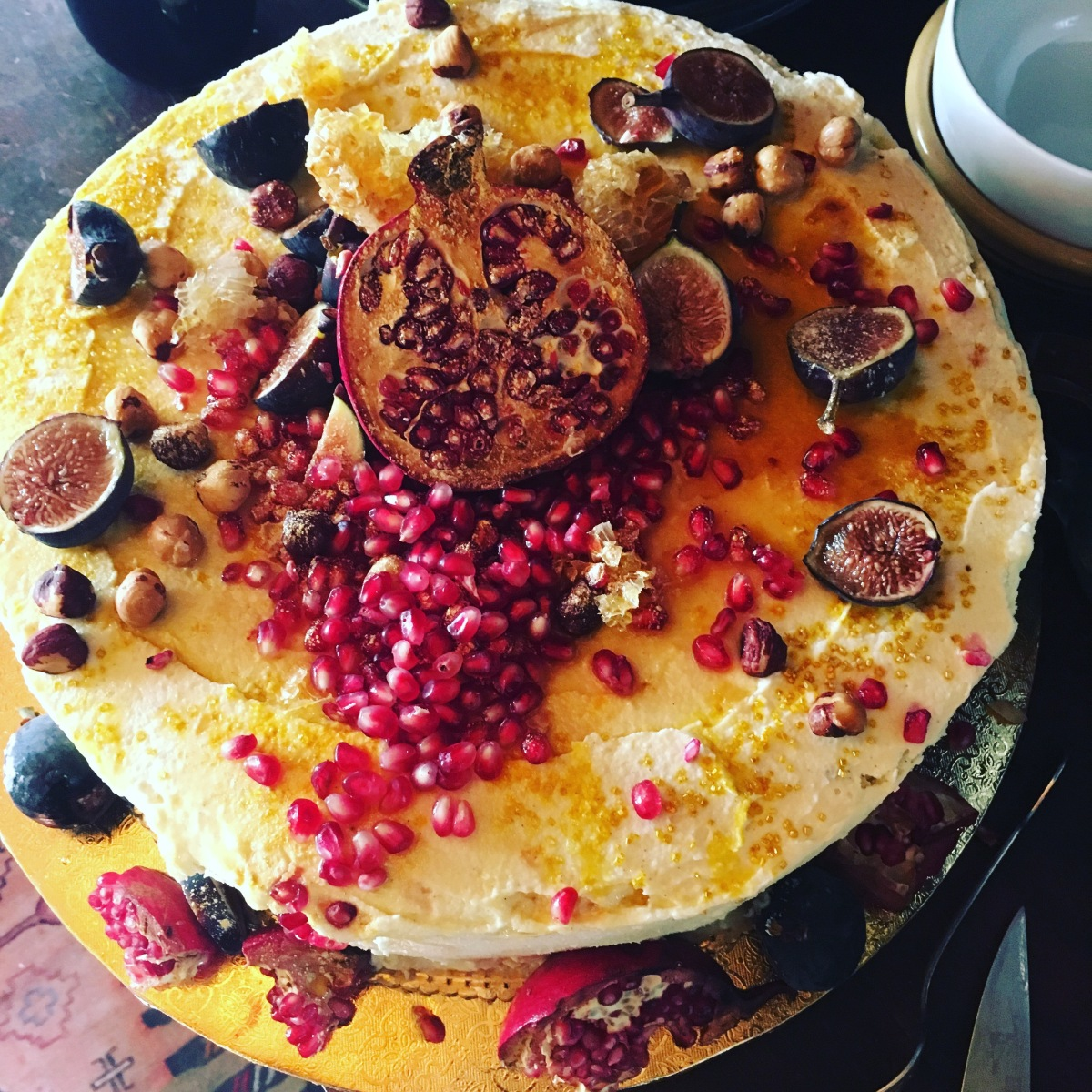 A Luscious Autumn Fertility Cake for Sxip and Coco's Wedding- Hazelnut Brown Butter Financier with Pomegranate Curd, White Chocolate Icing, Fresh Figs, Pomegranates and Honeycomb (Gluten-Free)