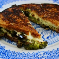 Crispy Grilled Cheese with Broccoli and Wasabi